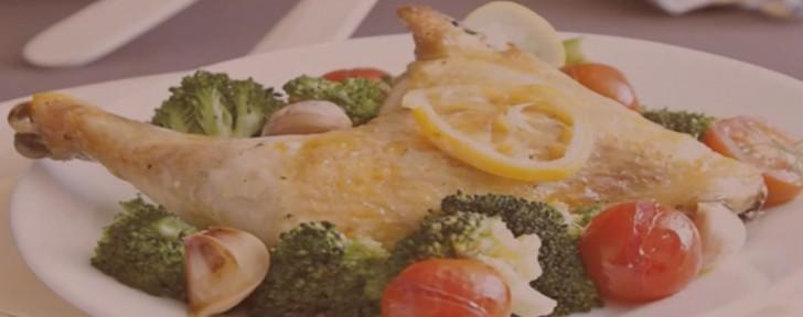 как печен пиле лимон броколи